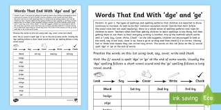 Some of the worksheets for this concept are spelling mechanics homeschool word study, directions say each picture and listen to the j sound, spelling list words ending in dge, spelling wok words that have, ge. Year 2 Spelling Practice J Sound Spelt Dge And Ge Homework Worksheet