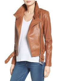 mackage belted leather moto jacket