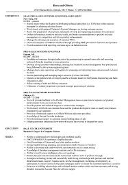 Pre Sales Systems Engineer Resume Samples Velvet Jobs