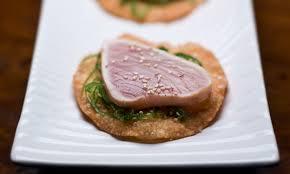 grilled rare albacore with ocean salad wonton crisps