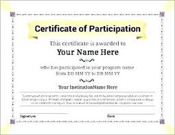 Certificate Of Participation Templates Certificate Of Participation Template Word Agarvain Org
