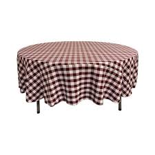 la linen 90 in white and burdy polyester gingham checd round tablecloth