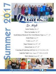 2017 summer schedule sr high