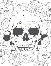 Coloriage Pour Adulte Crane Et Roses Imprimer Coloriage Pour