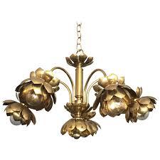 brass lotus chandelier by feldman for