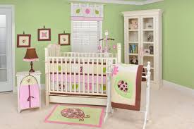 BedroomWooden Crib With Purple Bedding Combining The Wooden Floor Fresh  Light Green Wall Paint