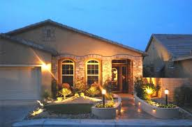 front yard landscape at night