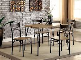 oak wood metal dining table set 5 piece kitchen dinette chairs room