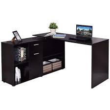 costway rotating l shape computer desk corner pc laptop table writing study workstation 0