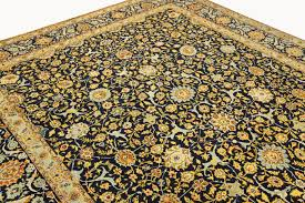 fine persian carpet kashan 3 94 x 3 00 blue gold handwoven high quality new