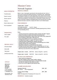 Network engineer resume personal summary work experience