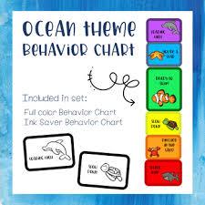 Kindergarten Behavior Color Chart Ocean Theme Clip Chart Worksheets Teaching Resources Tpt
