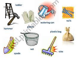 esl english powerpoints gardening tools