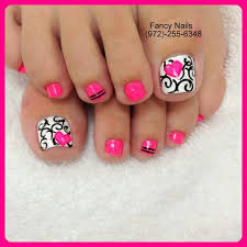 Black White Toe Nail Designs Black And White Damask Swirls With Pink Heart Toe Nail