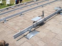 roof mounting rack with micro inverters installed