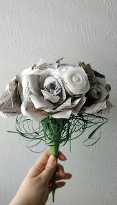 Recycled Flower Paper Newspaper Flower Bouquet Paper Bouquet Newsprint Bouquet