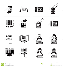 Barcode Design Icon Hand And Barcode Design Set Stock Illustration