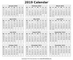 2019 Calendar Printable Template Printable Blank 2019 Calendar Templates