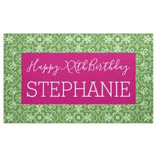 happy birthday pink and green happy birthday pink green patterned banner zazzle com