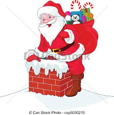 santa claus chimney clipart. Santa Claus Descends The Chimney On Clipart