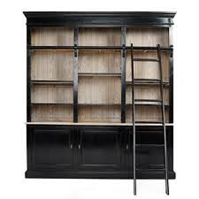 picture of wall of bookshelves with a rolling ladder on the
