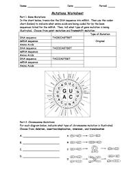 Mutations Worksheet Dna Worksheet Dna Project Dna Facts