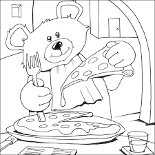 Small Picture Bear Eat Pizza Coloring Pages Cooking Illustrations