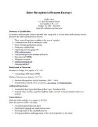 Fabulous Salon Receptionist Resume Format With Additional Top 8 ...