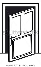 door clipart black and white. Opened Wooden Door Clipart Black And White