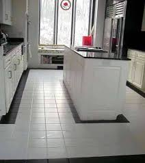 black and white 8 inch ceramic tile kitchen floor with epoxy grout stain resistant black n74 tile