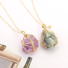 whole brand nature stone pendant necklaces colorful stone pendants sweater chain clavicle necklace for women raw amethyst jewelry fashion jewelry locket