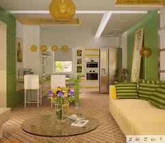 living room and kitchen together. private house kitchen design ideas. small combined with living room in joyful yellow and together