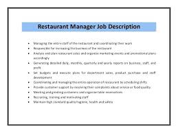 Restaurant Manager Job Description Resume Restaurant Manager Job