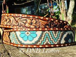 beaded leather belt with buckstitch and dyed background