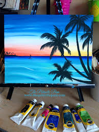 paddle boarding at sunset painting idea beginner canvas painting