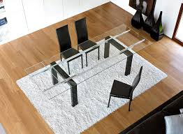 modern unico boma extending glass top dining table with marble legs thumbnail