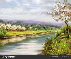 spring landscape paintings river art stock photo