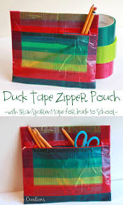 Duck Tape Zipper Pouch with-transparent-tape-a-no-sew-