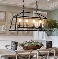 retro rustic wrought iron black chandelier light rectangle loft pendant lamp vintage industrial glass box pendant light dining room bar lamp pendant