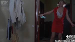 Drunk russian skinny teen in pantyhose