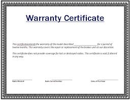 9 Warranty Certificate Templates Free Sample Templates