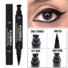 triangle seal eyeliner waterproof glitter lining black brown double head professional cat eye makeup arrow cosmetics liquid make up applying eyeshadow from