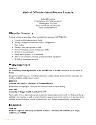 Medical Assistant Resume Objective Resumes Externship Examples