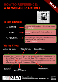 Citing A Newspaper Mla Format Style 8th Edition Libguides At