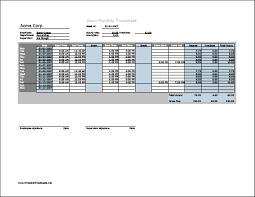 timecard with lunch breaks semi monthly timesheet horizontal orientation with overtime