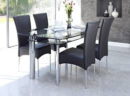 inspiring glass top dining table with 4 black leather dining chairs