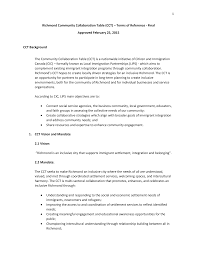 1 Richmond Community Collaboration Table (CCT) – Terms of Reference - Final  Approved February 25, 2015 CCT Background The Com
