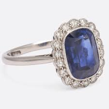edwardian natural sapphire diamond engagement ring er lane with tapered tanishq pendant designs black platinum karat pre owned rings carat three stone