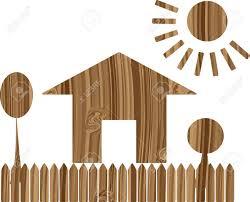 Illustration Board House Design Dream House On The Wooden Board Vector Illustration