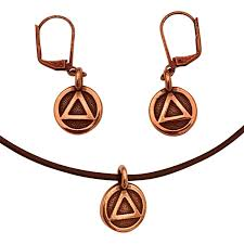 dragonweave dragonweave aa alcoholics anonymous sobriety recovery triangle charm necklace earrings antique copper brown leather adjustable 16 18